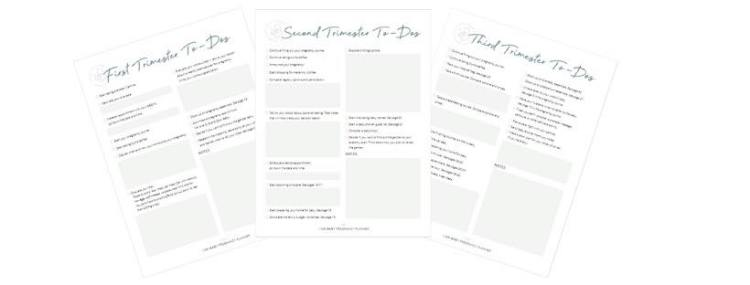 pregnancy planner trimester to-do sheets