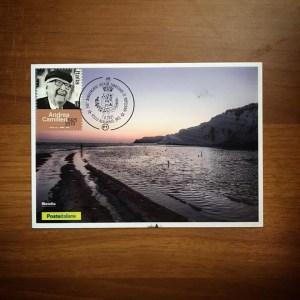 Annullo filatelico con francobollo di Andrea Camilleri