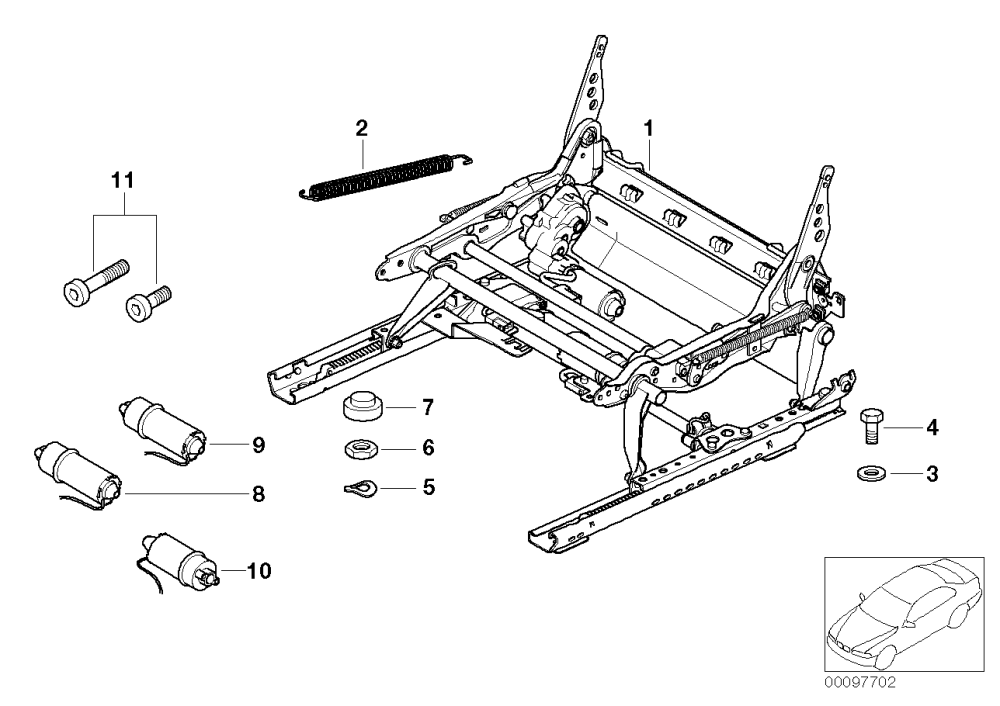medium resolution of front seat rail electrical single parts