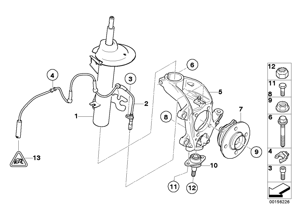 medium resolution of front spring strut carrier wheel bearing