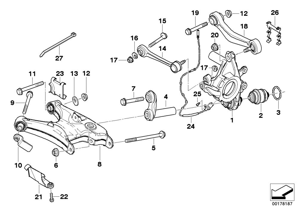 medium resolution of rear axle support wheel suspension