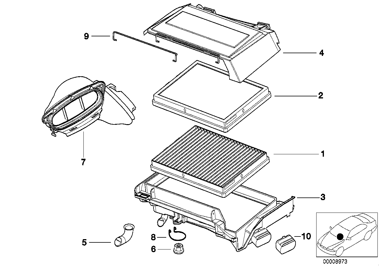 Broken cabin air-filter intake joint