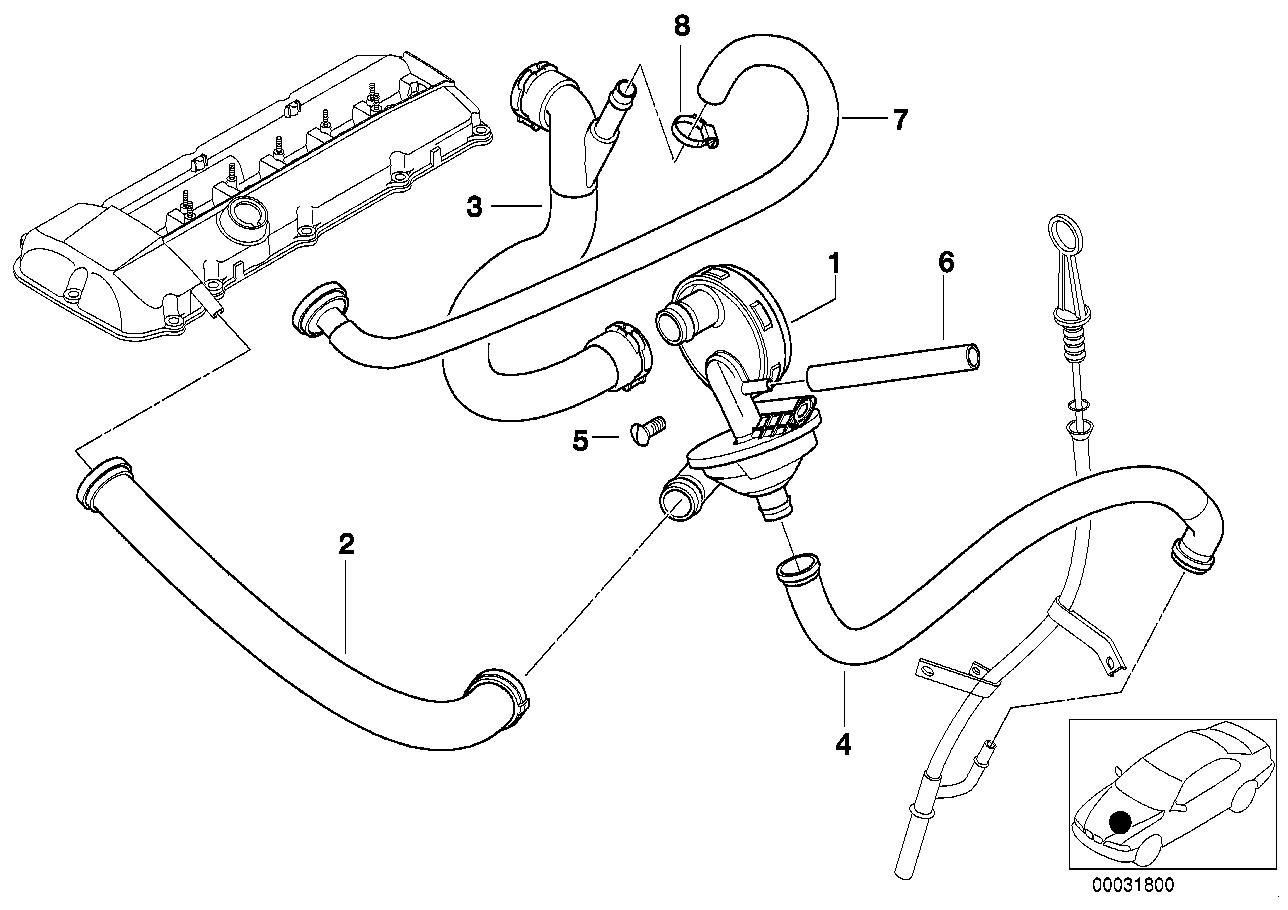 complete parts diagram e46 yamaha v star 250 wiring realoem com online bmw catalog 3 323i crankcase ventilation oil separator