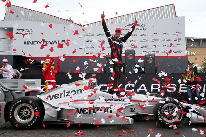 Will Power celebrating victory at the Honda Indy Toronto