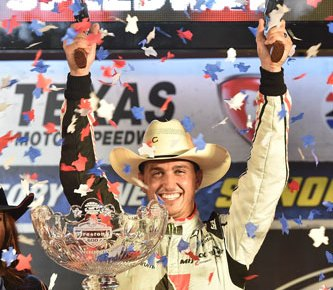 Graham Rahal shoots the celebratory six-shooters in Victory Lane after winning the Firestone 600 at Texas Motor Speedway
