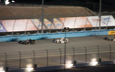 Nighttime saw more cars running in packs, this one led by Mikhail Aleshin