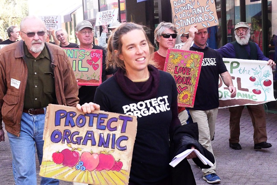 Linley Dixon marching in a protect organic t shirt at the Jacksonville farm rallies against the NOSB