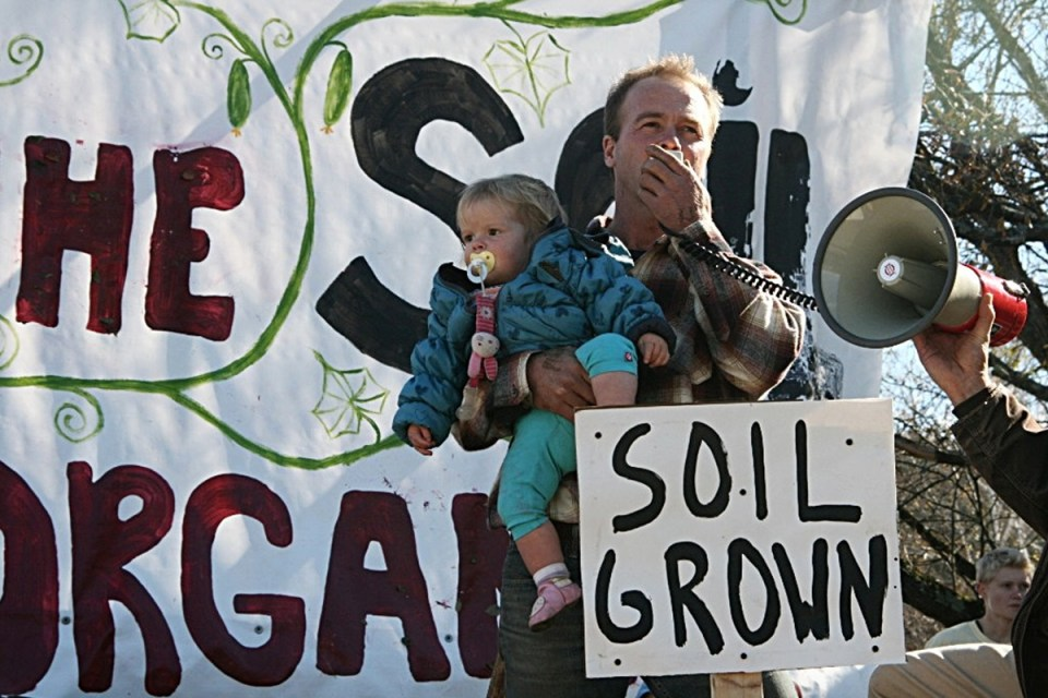 Organic Farmer Pete Johnson speaks to the crowd at a rally in Stowe, Vermont.