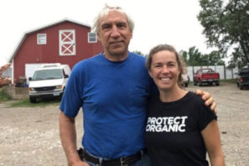 Francis Thicke and Linley Dixon of the Real Organic Project pose at Radiance Dairy in Fairfield, Iowa