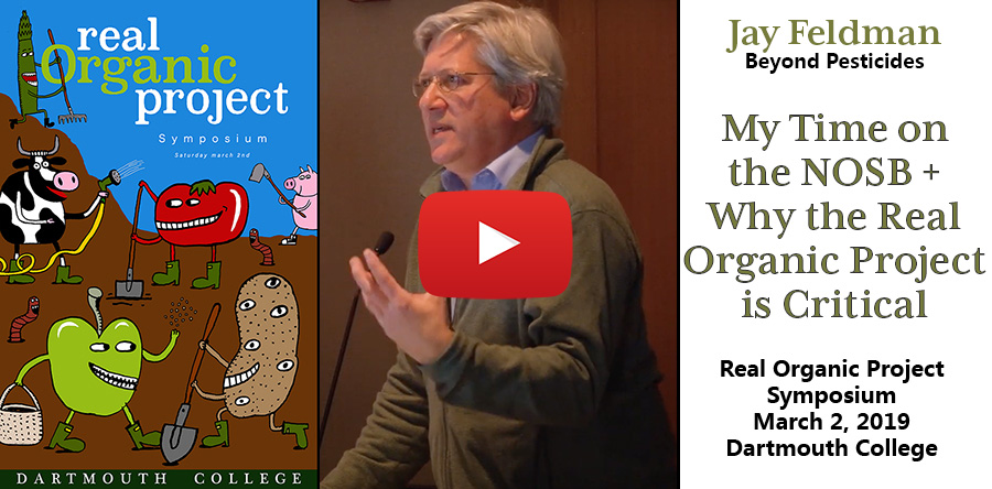 Jay Feldman of Beyond Pesticides addresses organic farmers at the Real Organic Project Symposium in March of 2019