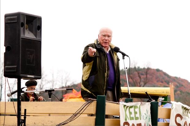"Senator Patrick Leahy speaking at a Vermont farm rally, where he said ""Let Organic be organic be organic!"""