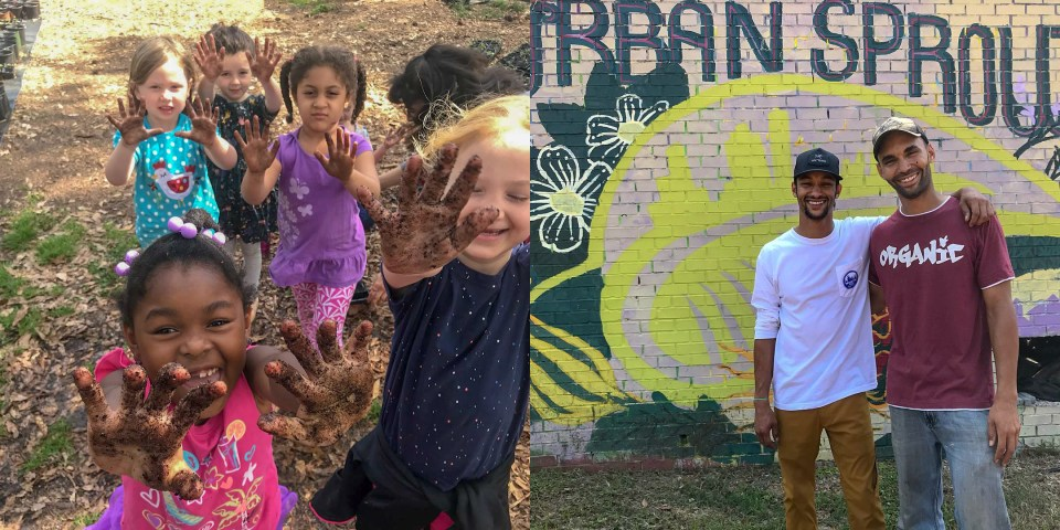 School kids proudly show their dirty hands after planting at Urban Sprout Farms Atlanta