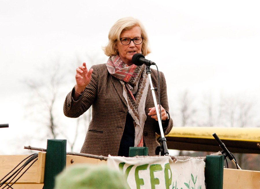 Congresswoman Chellie Pingree of Maine addresses a crowd