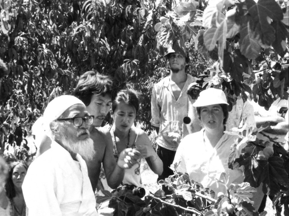 Masanobu Fukuoka visits farms in California with early EcoFarm organizer Zea Sonnabend.