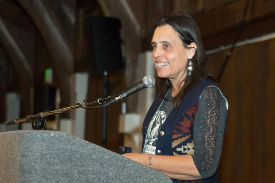 In 2018 Winona LaDuke receives a Justie Award at EcoFarm.