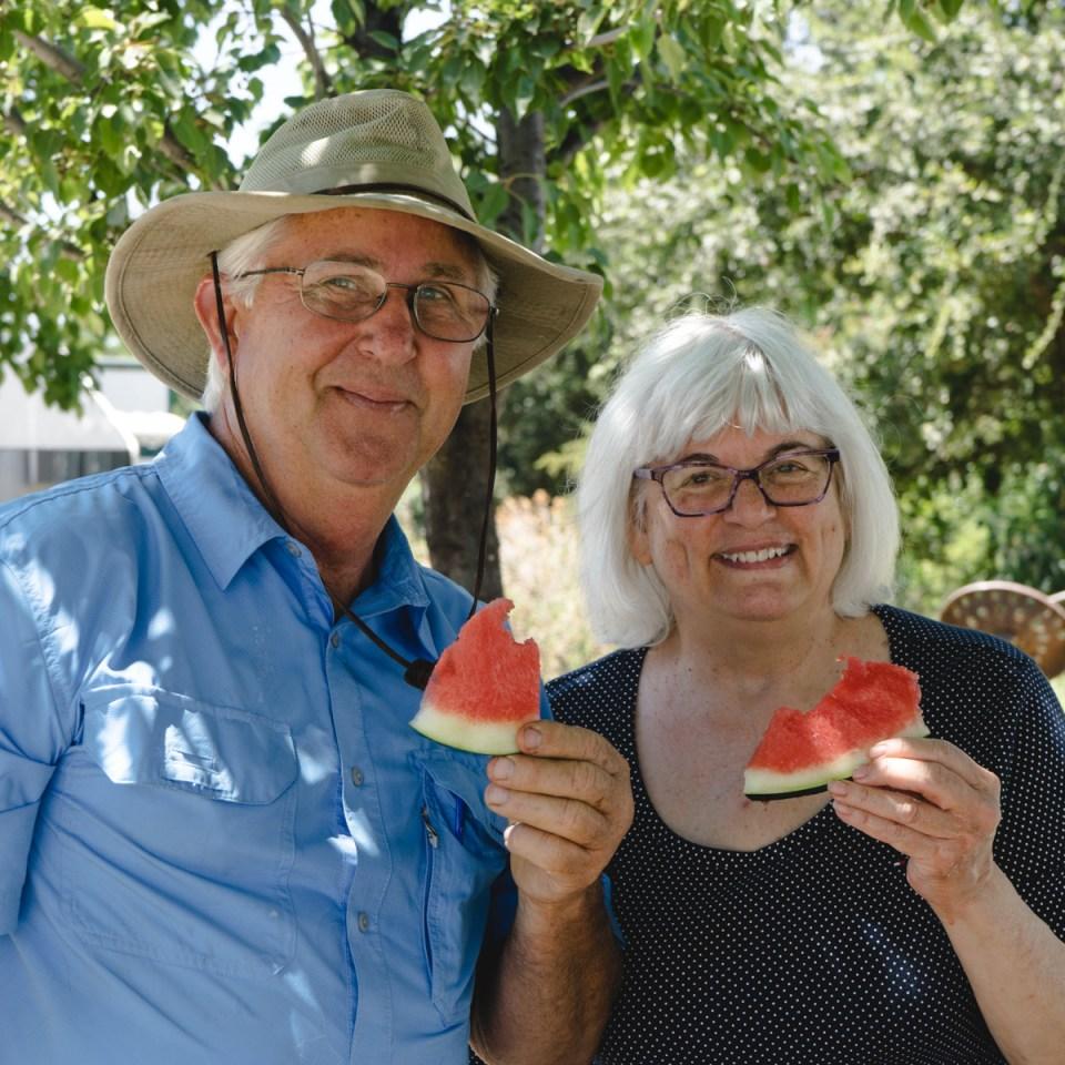 Jim and Deborah eating watermelon