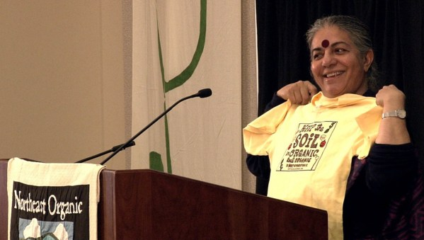 Vandana Shiva will give the keynote on Saturday at EcoFarm. Vandana showing support in Vermont for Keep The Soil In Organic.