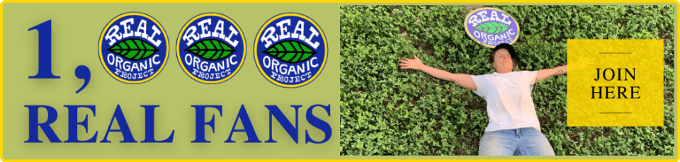 """A button reading """"1000 Real Fans"""" in blue lettering next to a picture of a farmer in a white t-shirt and jeans laying down in a field of cover crop. A yellow button reads """"Join Now"""" next to the farmer."""