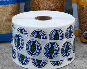 Real Organic labels on roll