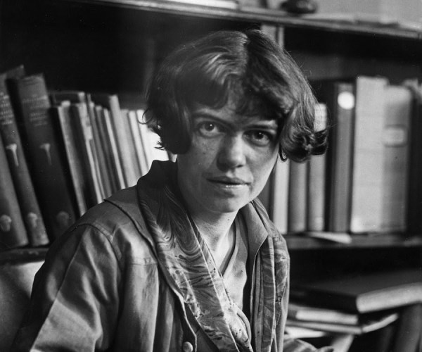 A black and white photo of Margaret Mead