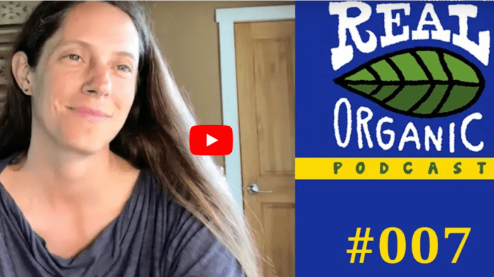 A screenshot of a video interview with Emily Oakley alongside a Real Organic Project Podcast Logo