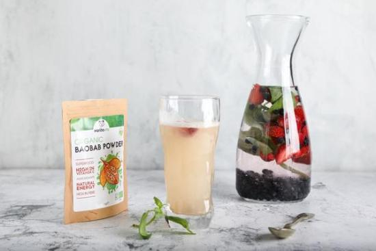 Delicious Detox Baobab Water Infused with Berries & Basil