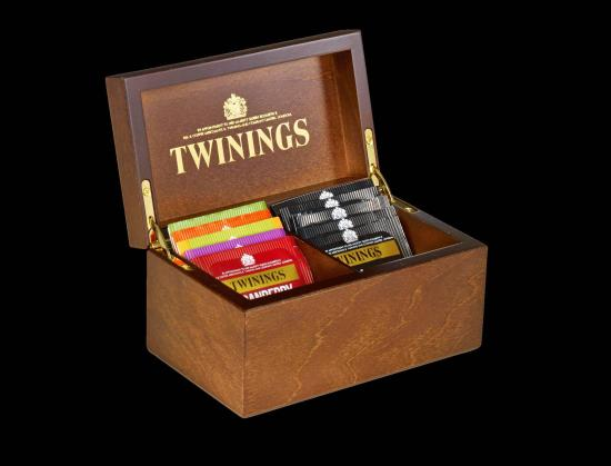 Deluxe Wooden Tea Box - 2 Compartment Filled