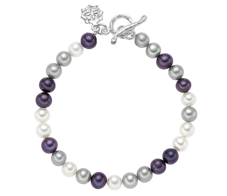 Sterling Silver Mixed Medium Freshwater Pearl Bracelet