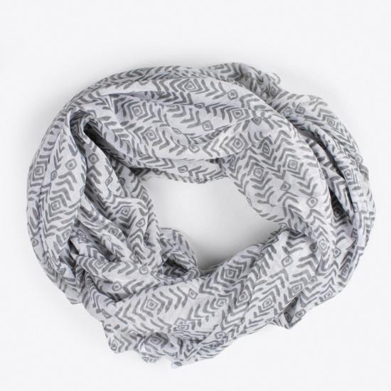 Block Print Aztec Scarf in Grey by Bohemia