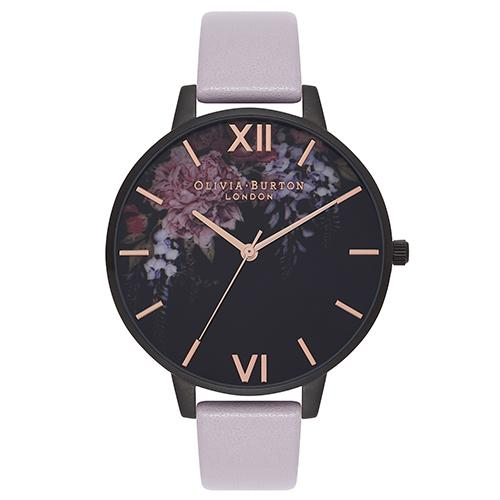 Olivia Burton After Dark Floral Matte Black Dial Lilac & Rose Gold Plated Watch