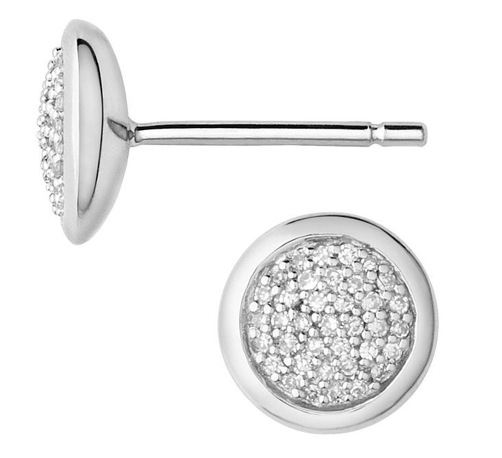 Diamond Essentials Sterling Silver & Pave Round Stud Earrings