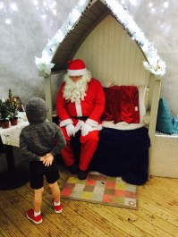 Fin nervously chatting to Santa