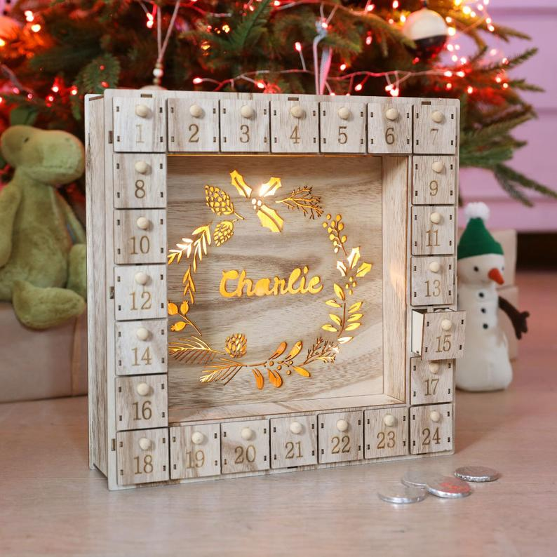 Fill Your Own Wooden Wreath Advent Calendar Light Box