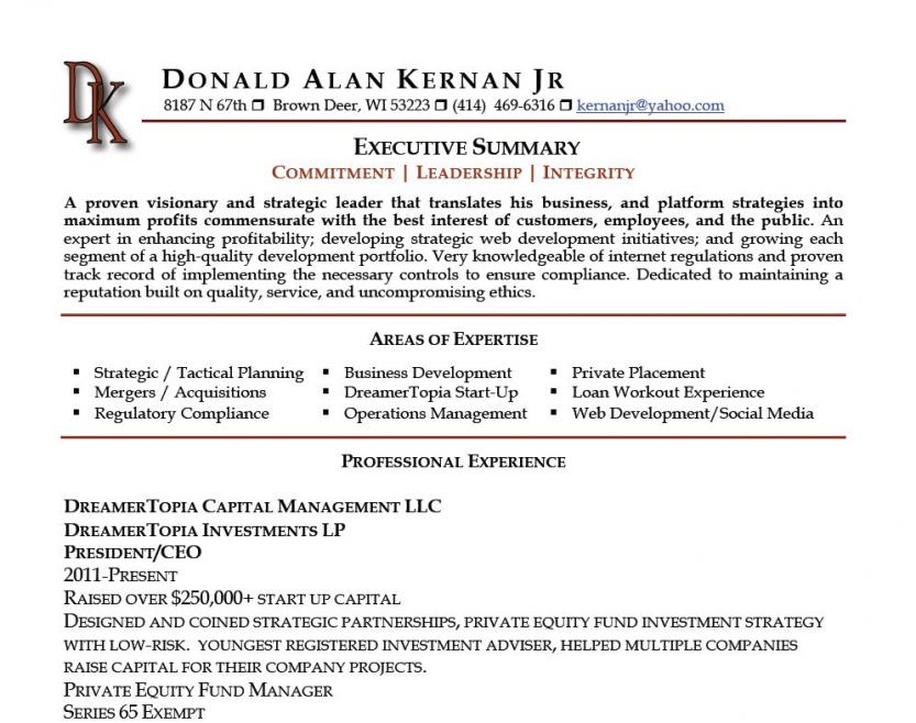 Executive Summary Resume Examples  Text