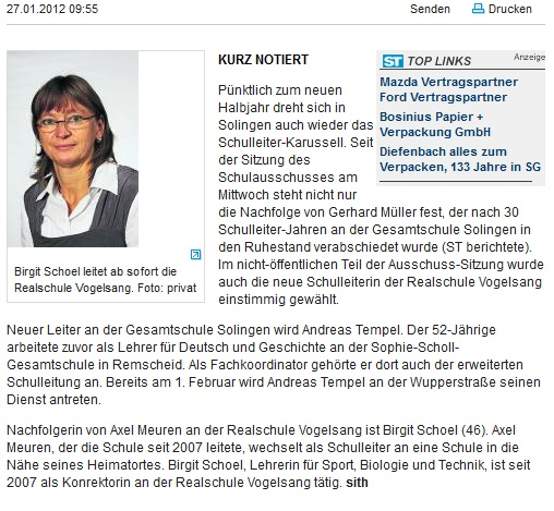 Solinger Tageblatt, 27.01.2012
