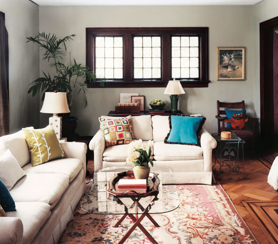 View In Gallery Gentle Golden Accents Added To A Stunning Contemporary Living Room Blue And White