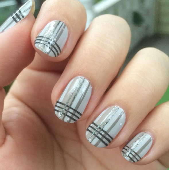 Nail Art Designs To Pops Of Metallic Shimmer While Some Variations On The Trend Involve Milky Grey Adorned With Skinny Stripes Plaid