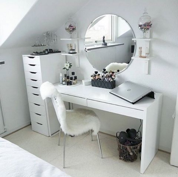 white fluffy desk chair target kids chairs beautiful vanity décor ideas for springtime | lifestyle