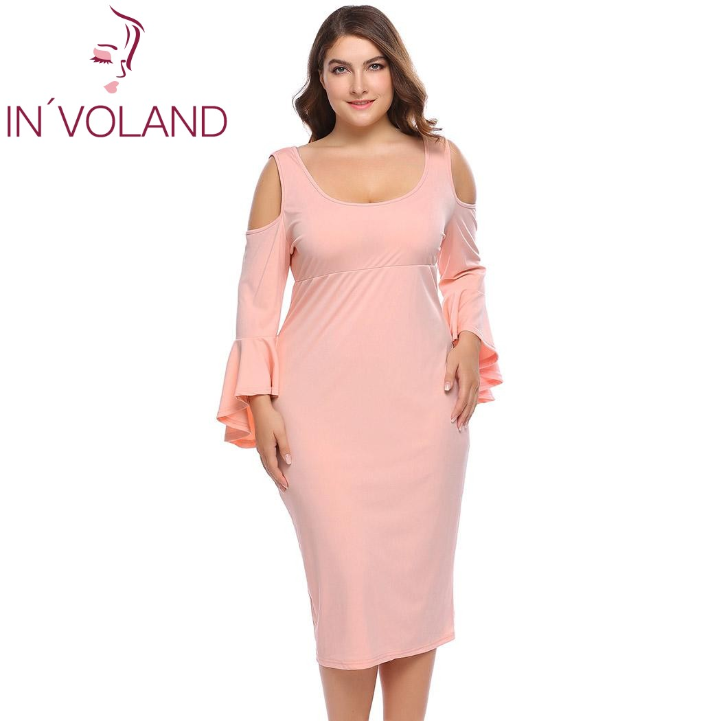 IN\'VOLAND Women Party Dress Plus Size XL-5XL Spring Autumn O-Neck ...