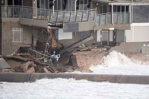 Close up of damage to Collaroy Services club