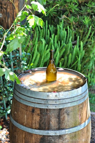 Wine barrel water fountain.