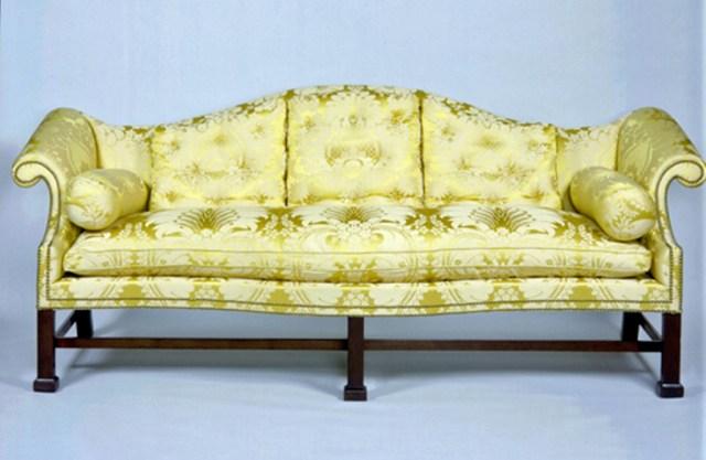 Chippendale mahogany camel-back sofa