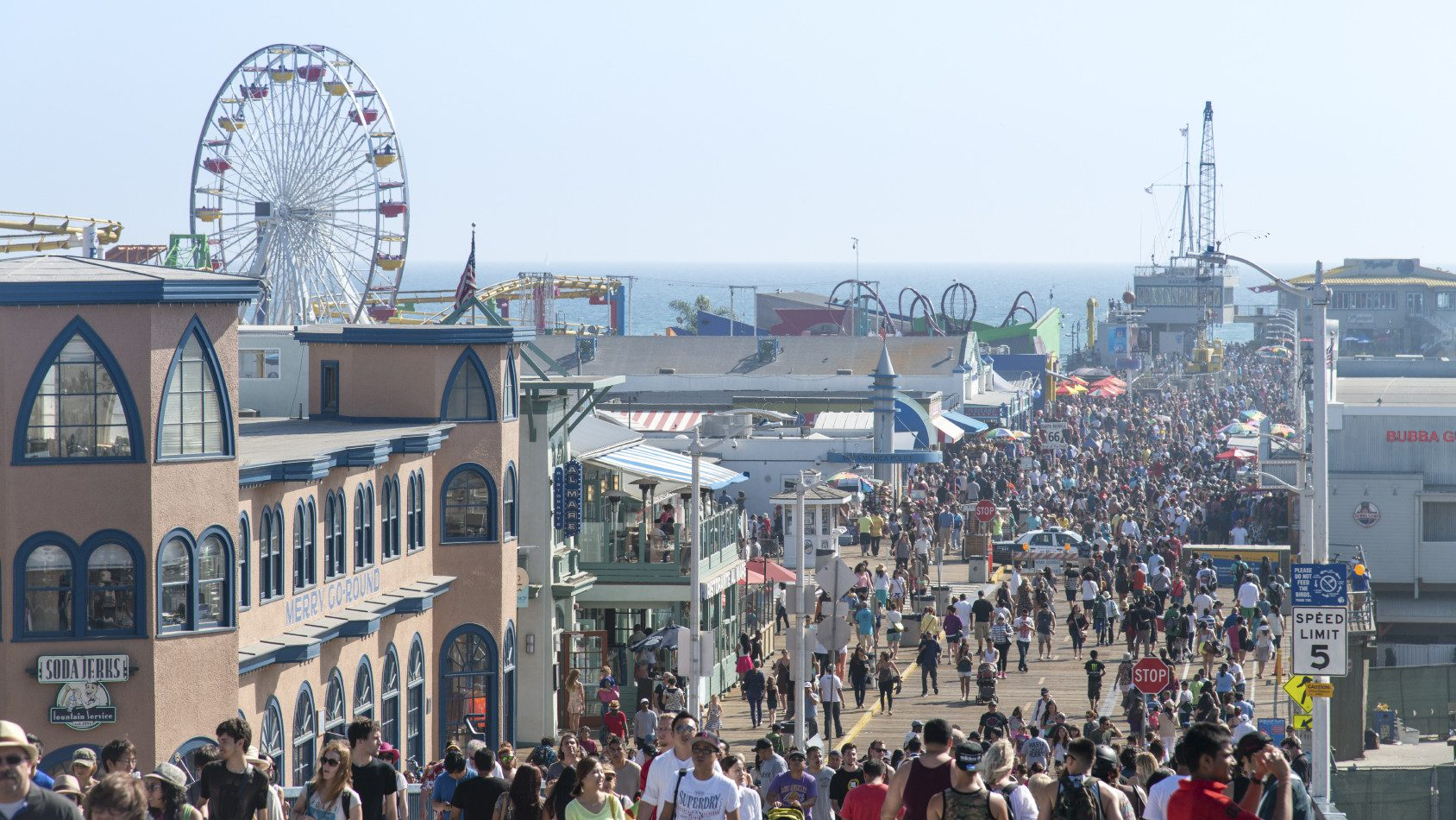 The amusement park on the Santa Monica Pier is a big draw for tourists.