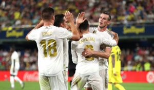 VILLAREAL, SPAIN - SEPTEMBER 01: Garrice Bale of Real Madrid celebrates with mates after scoring his side's first goal during the league match between Villarreal CF and Real Madrid at Estadio de la Ceramica on September 01, 2019 in Villareal, Spain. (Photo by David Ramos / Getty Images)