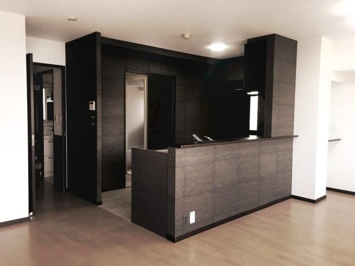 全面改装、キッチン、おしゃれ、腰壁
