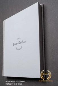 album matrimonio legno lino stampato