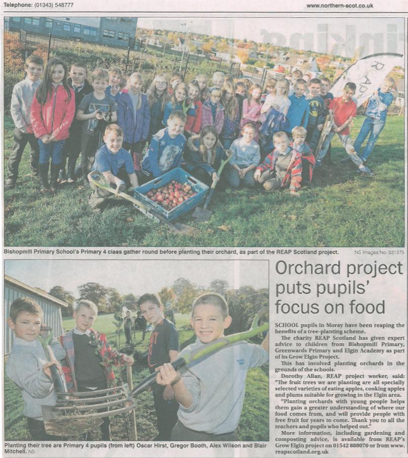 new paper clipping northern scott tree planting bishopmill 18.11.15