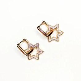 Orecchini gold stella zirconi