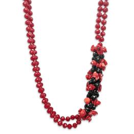 Collana in cristallo swarovski rosso e nero con corallo