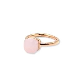 Anello argento 925 rosè solitario zircone a cubo rosa